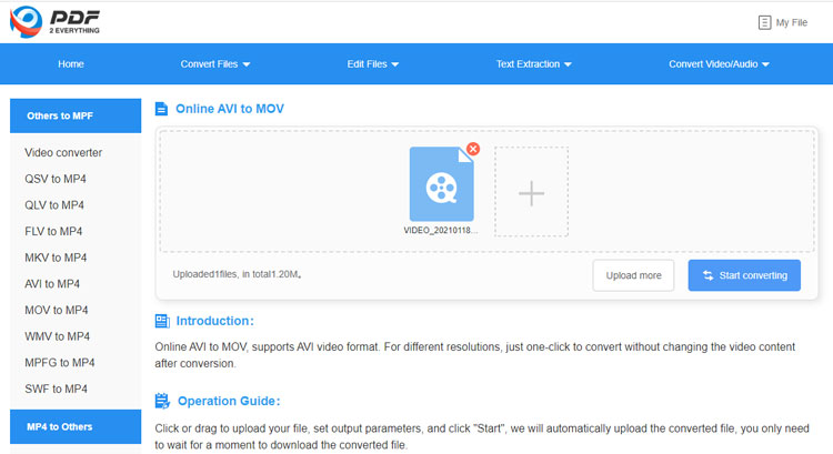 convert AVI to MOV in PDF2everything