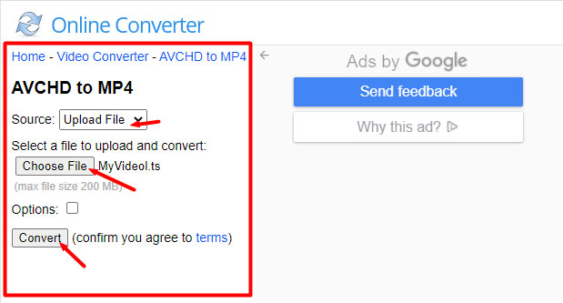 online AVCHD to MP4 converter