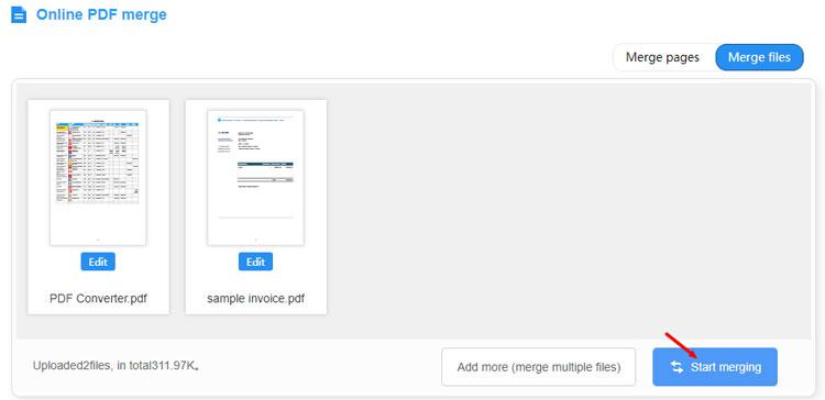 Start to merge PDFs in PDF2everything