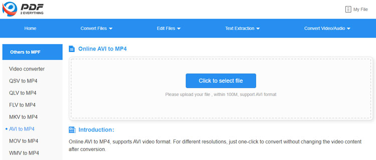PDF2everything online AVI to MP4