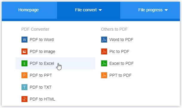Choose PDF to Excel in PDF2everything