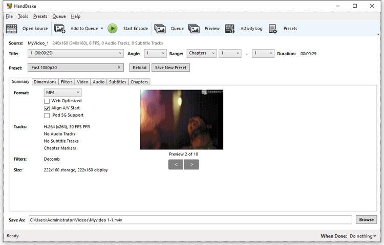 import a video in HandBrake