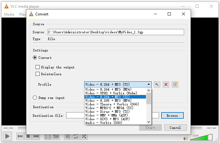 select MP4 output format in VLC