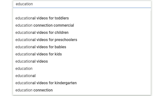 search education in YouTube
